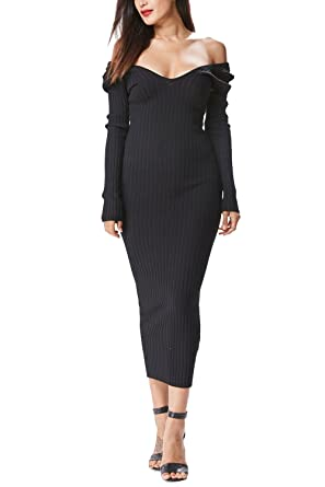 Womens Long Sleeve Ribbed Off Shoulder Bodycon Midi Dress 21449 At