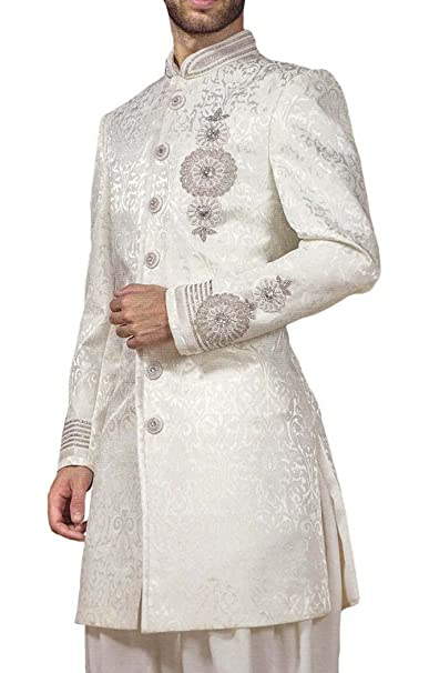INMONARCH Mens Kurta for Jeans Cream Indowestern Enhanced ...
