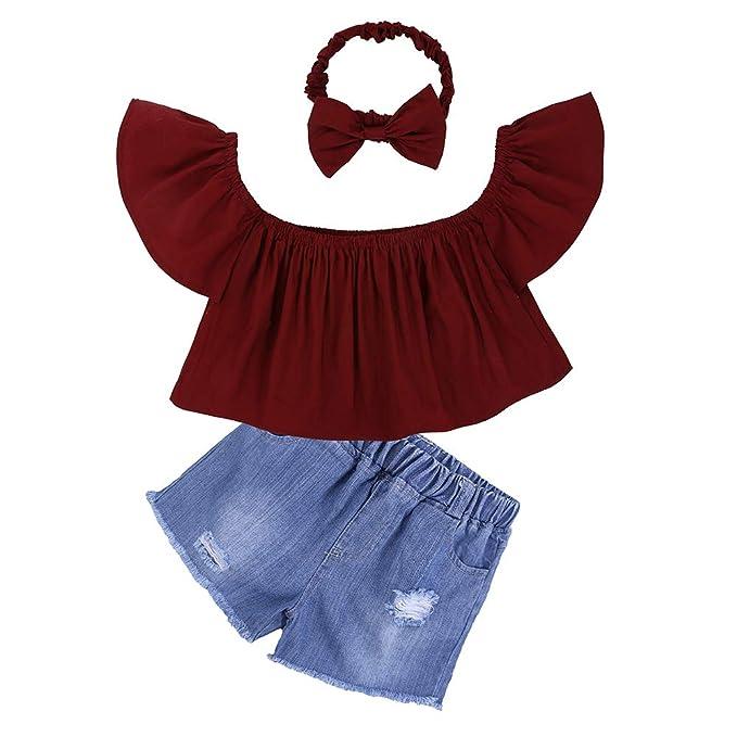 def3cc5c924c04 Kids Tales Girls Off Shoulder Lotus Leaf Tops Denim Shorts Headband Outfits  Set