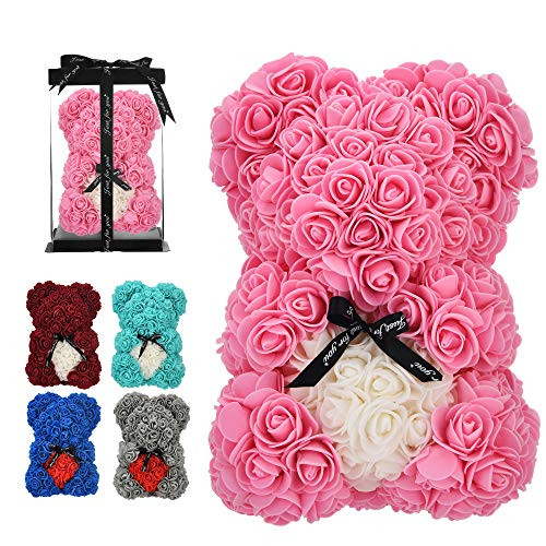 vdfeas Birthday Gift for Women Rose,Rose Flower Bear - Rose Teddy Bear - - Gift for mom, Girlfriend Gifts, Gifts for Girls & Bridal Showers - w/Clear Gift Box