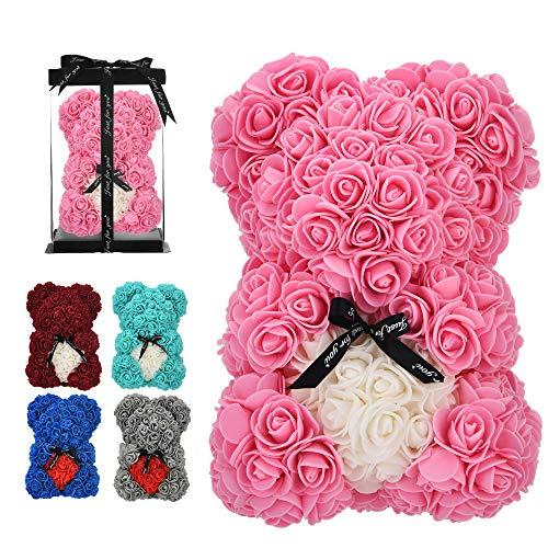 vdfeas Birthday Gift for Women Rose,Rose Flower Bear - Rose Teddy Bear - - Gift for mom, Girlfriend Gifts, Gifts for Girls & Bridal Showers - w/Clear Gift Box