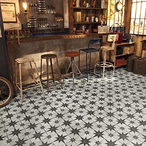 "SomerTile FPESTRN Reyes Astre Ceramic Floor and Wall, 17.625"" x 17.625"", Nero Tile, Cream/Beige/Black, 5 Piece"