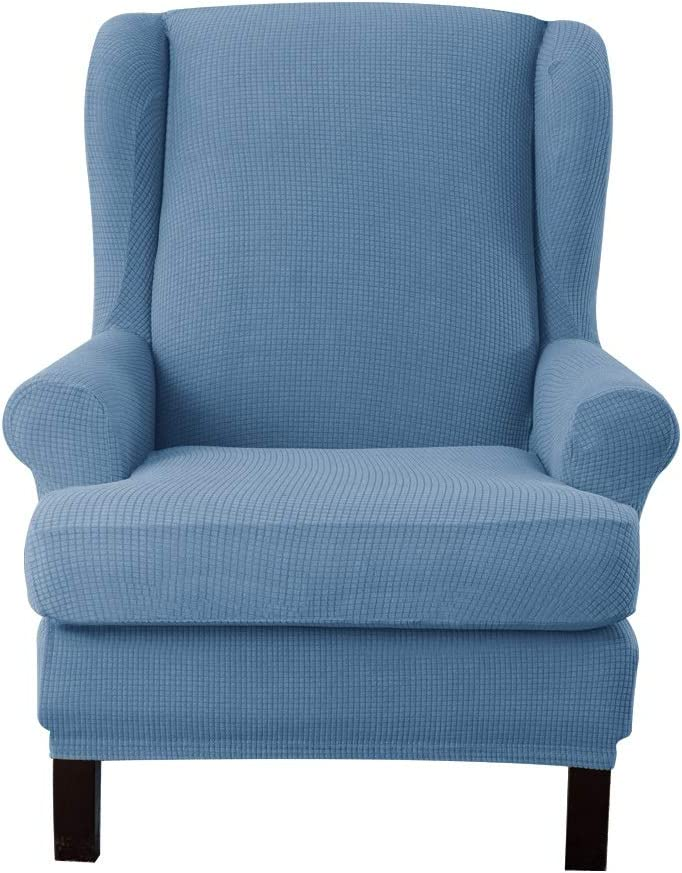 Ebeta Jacquard Stretch Wingback Chair Sofa Slipcover 2-Piece Stretch Sofa Cover Furniture Protector Couch Soft with Elastic Bottom (Denimblue)