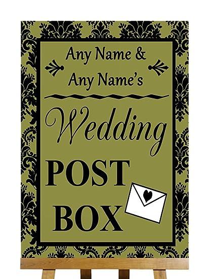 A4 Olive damasco negro buzón de correos con texto en inglés ...