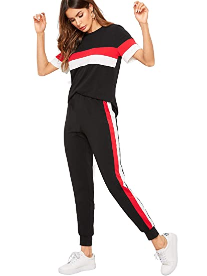3deaa7e8f6afa Shocknshop Black Colorblock Red Striped Pullover Tee and Sweatpants  Leggings Tracksuit Set for Womens (LEG78): Amazon.in: Clothing & Accessories