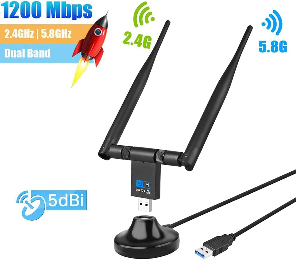 802.11 AC Network Adapter for Windows XP//Vista//7//8//10//Linx//Mac OS MQUPIN USB WiFi Dongle 1200Mbps Wireless USB 3.0 WiFi Adapter with 5dBi Dual Band Antenna 5.8G//867Mbps+2.4G//300Mbps