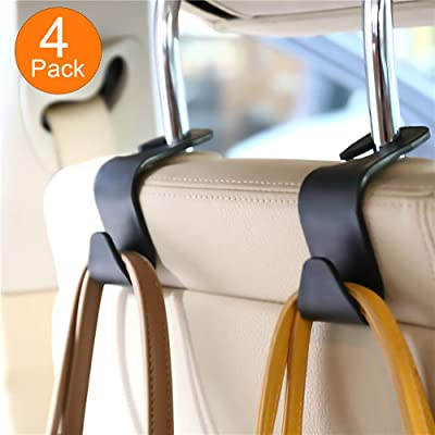 FJCTER Car Vehicle Headrest Hooks with 44 LB Load Capacity Durable Back Seat Hangers with Intimate Design Portable Organizer Holder for Handbag Purse Cloth Grocery (4 Pack): Automotive