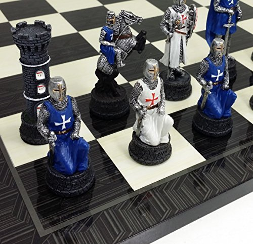 Medieval Times Crusades White & Blue Knights Chess Set Hand Painted W/ 17