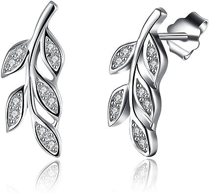 Silverly Womens .925 Sterling Silver Heart Cubic Zirconia Stud Earrings