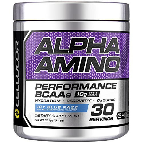 Cellucor Alpha Amino EAA BCAA Recovery Powder, Essential Branched Chain Amino Acids Supplement, ICY Blue Razz, 30 Servings