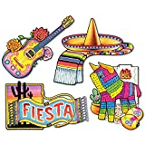 Club Pack of 48 Festive Multi-Colored Mexican Fiesta Cutout Decorations 19.25''