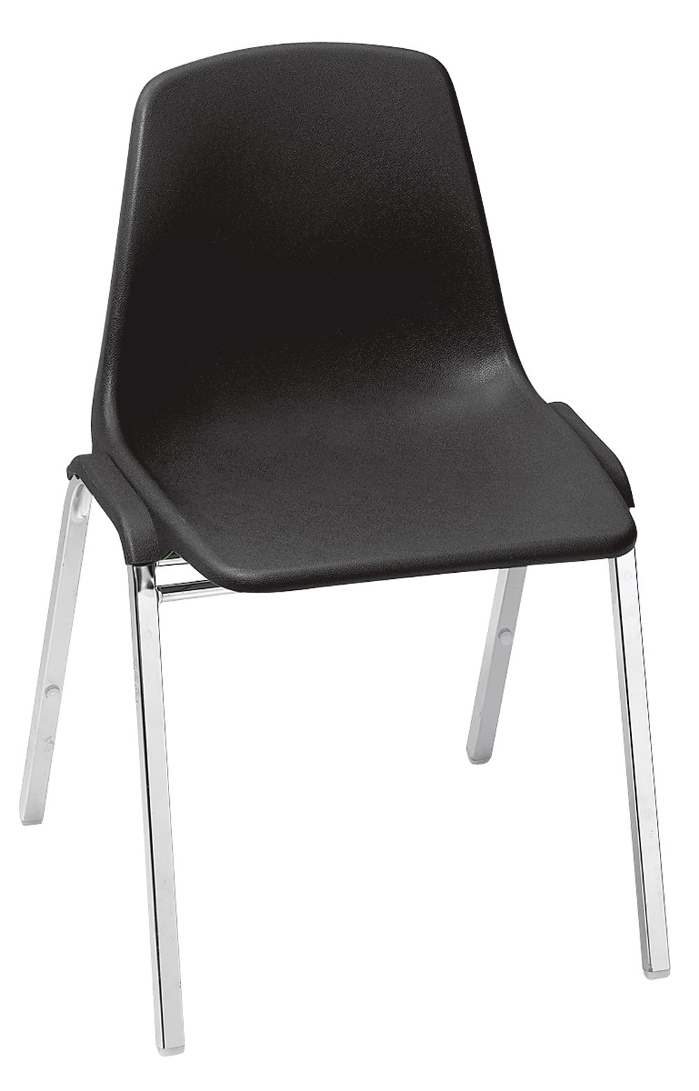 NPS 8110-CN Polyshell Stack Chair, 300-lb Weight Capacity, 9-1/4'' Length x 19-1/4'' Width x 31'' Height, Black (Carton of 4)