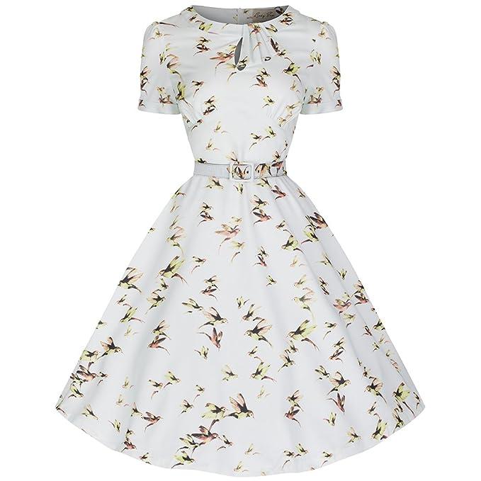 El columpio vestido estampado colibrí Clarissa con la menta en colores pastel - Vintage, 50s