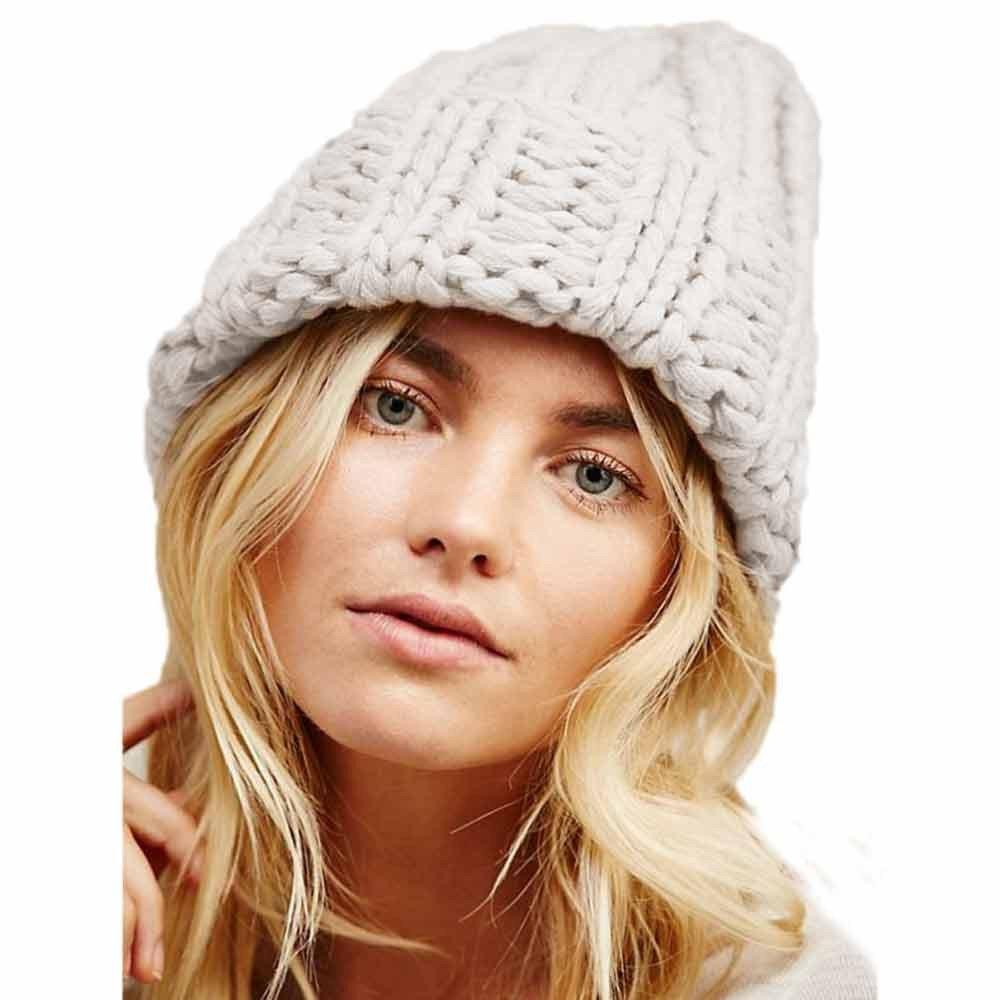 XOWRTE Womens Girls Earmuffs Hat Winter Warm Manual Knitted Cap on clearance