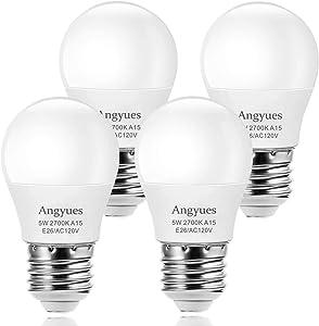 LED Bulb 120V 40W Equivalent Light Bulb, A15 LED Bulb Warm White 2700K Energy Saving Bulb, E26 Medium Screw Base Suitable for Domestic Bulbs 4 Pack
