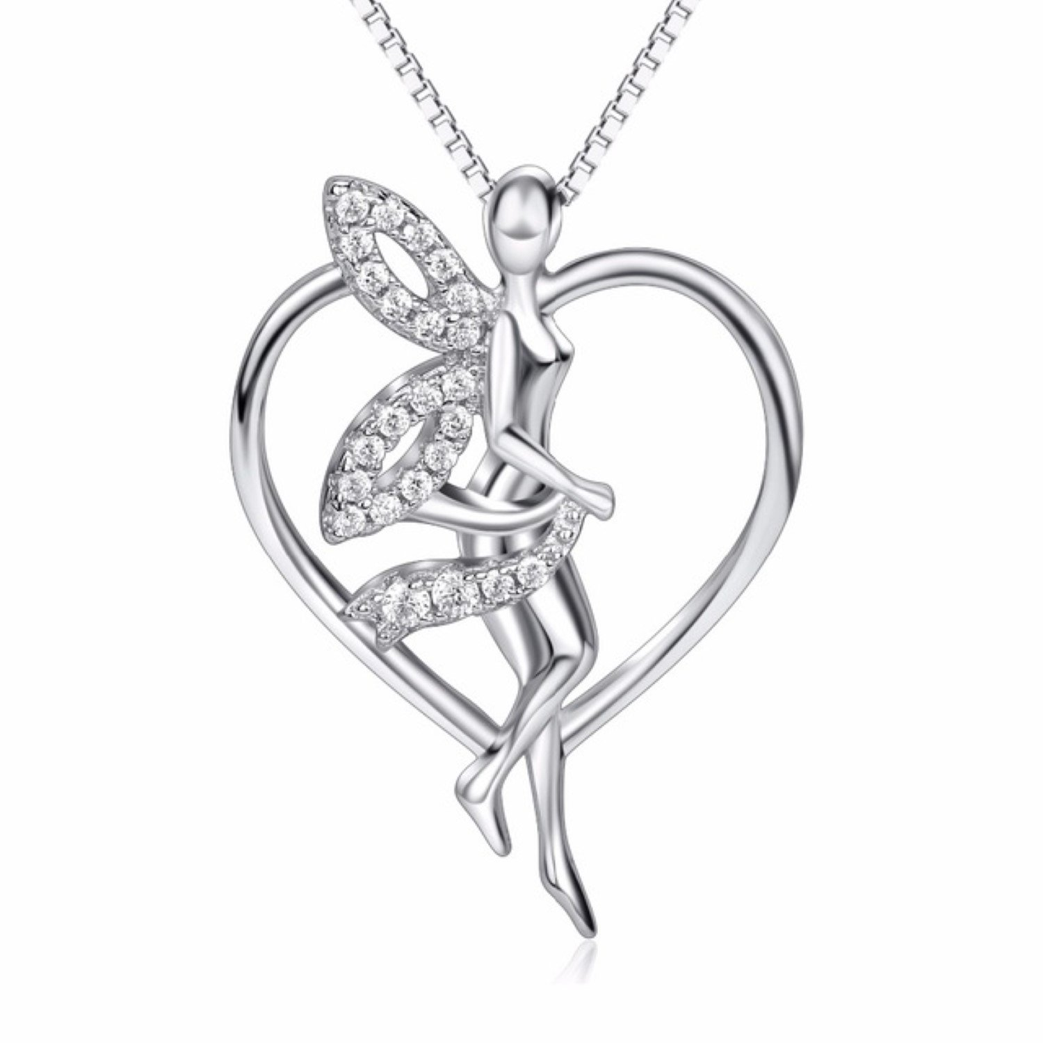 CS-DB Womens Necklaces by Silver Pendant Flying Angel Love Heart Charm Girls Crystal CZ Jewelry