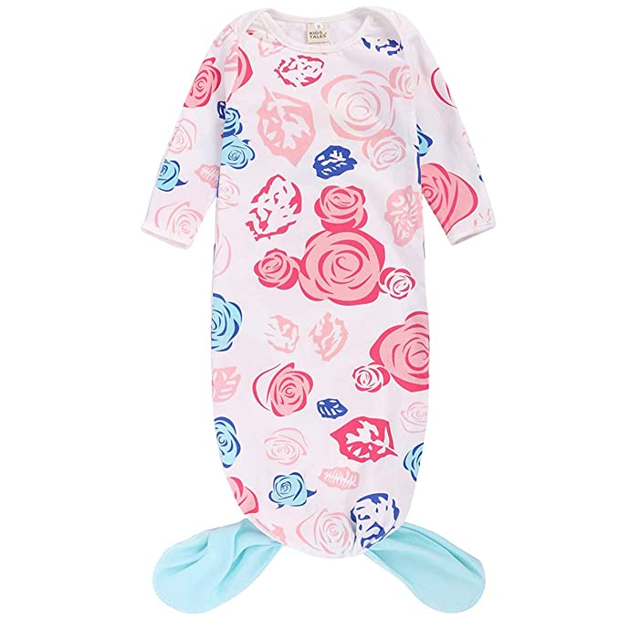 buy online 3db18 5a70e BubbleColor Baby Sleep Gown Knotted Tie Mermaid Tail Nightgowns Sleeping  Bag Infant Toddler Girl Cotton Onesie Pajamas