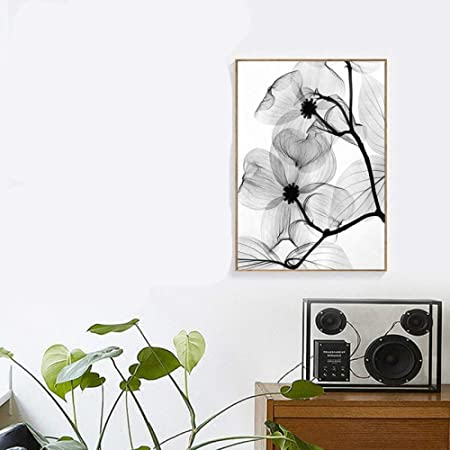 RTCKF Negro Blanco Resumen Minimalista Planta Floral Cartel ...