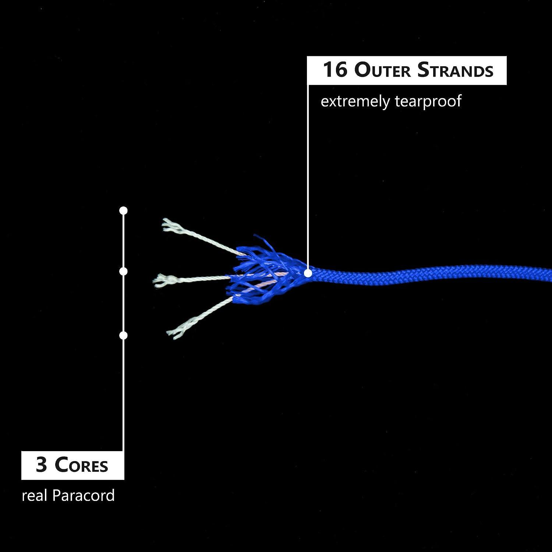 GO!elements 100m Cuerda Paracord de Nylon Resistente al desgarro 3mm Paracord 425 Tipo II l/íneas como Cuerda para Exteriores l/ínea de Nylon MAX Cuerda para Todo Uso 192kg
