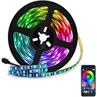 Tira LED de Bluetooth, WAYAMY Luces de Tira LED Controlada por Smartphone APP, Sync to Music, 5050 RGB 6.5 ft / 2 meter…