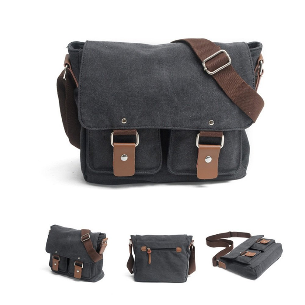 L W H Mens Shoulder Messenger Bag Vintage Canvas Multiple Pocket Briefcase Outdoor Sports 10.623.939.05 Inches
