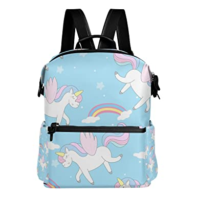 94b53d540d Image Unavailable. Image not available for. Color  La Random Unicorn  Pattern With Rainbow Custom Backpack ...
