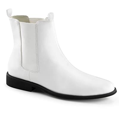 Mens Ankle Boots with 1 Inch Flat Heels Matte White Pull On Boots