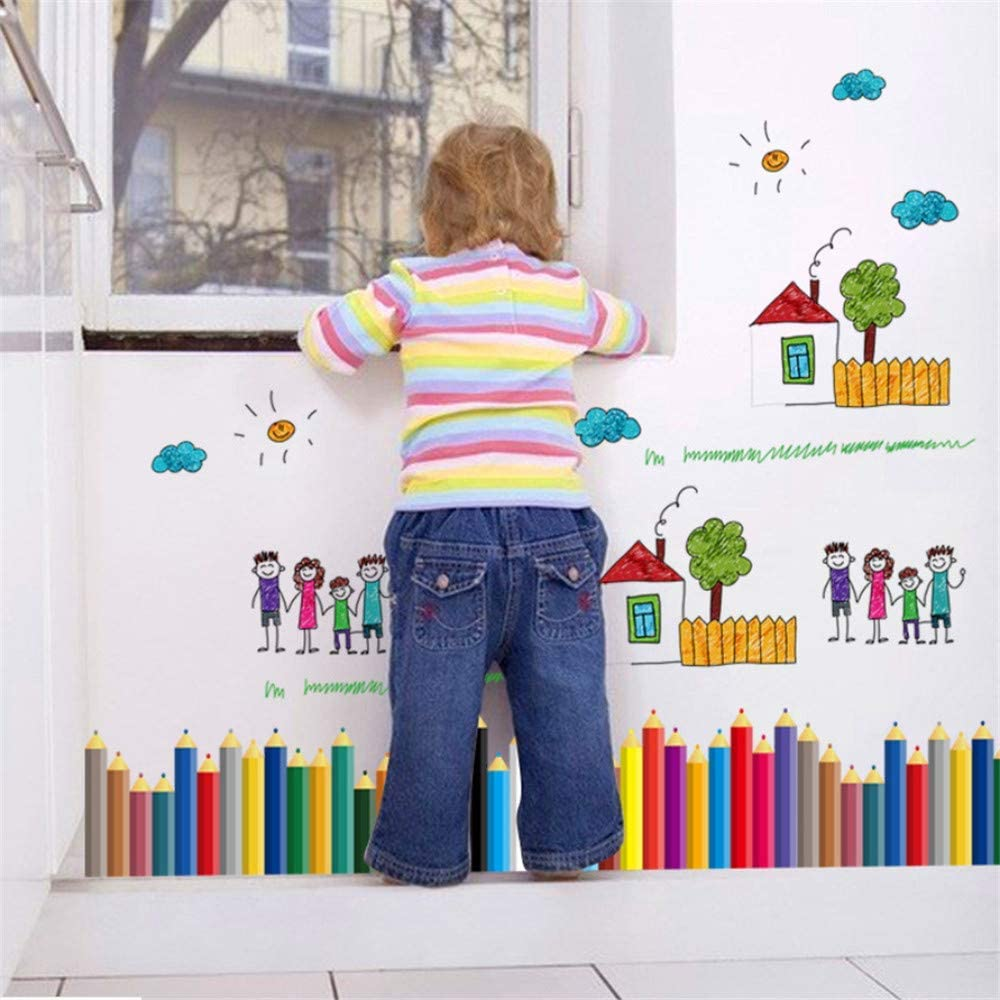 Cuisine Maison Decoration Murale Simulation Enfants Graffiti Crayon Plinthe Stickers Muraux Couloir Decoration Brosse Peint A La Main Chambre Denfants Papier Peint