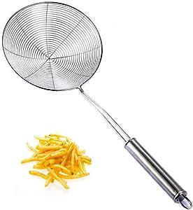 Stainless Steel Zara, Stainless Steel Skimmer Strainer, Wire Skimmer with Spiral Mesh, Professional Grade Handle Skimmer Spoon/Ladle for Spaetzle/Pasta/Chips