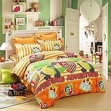 LOVO Kids Dinosaur Fighter Cotton 300TC 4-Piece Bedding Set Duvet Cover Fitted Sheet 2x Shams Full