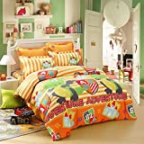 LOVO Kids Dinosaur Fighter Cotton 300TC 4 Piece Bedding Set Duvet Cover Fitted Sheet 2x