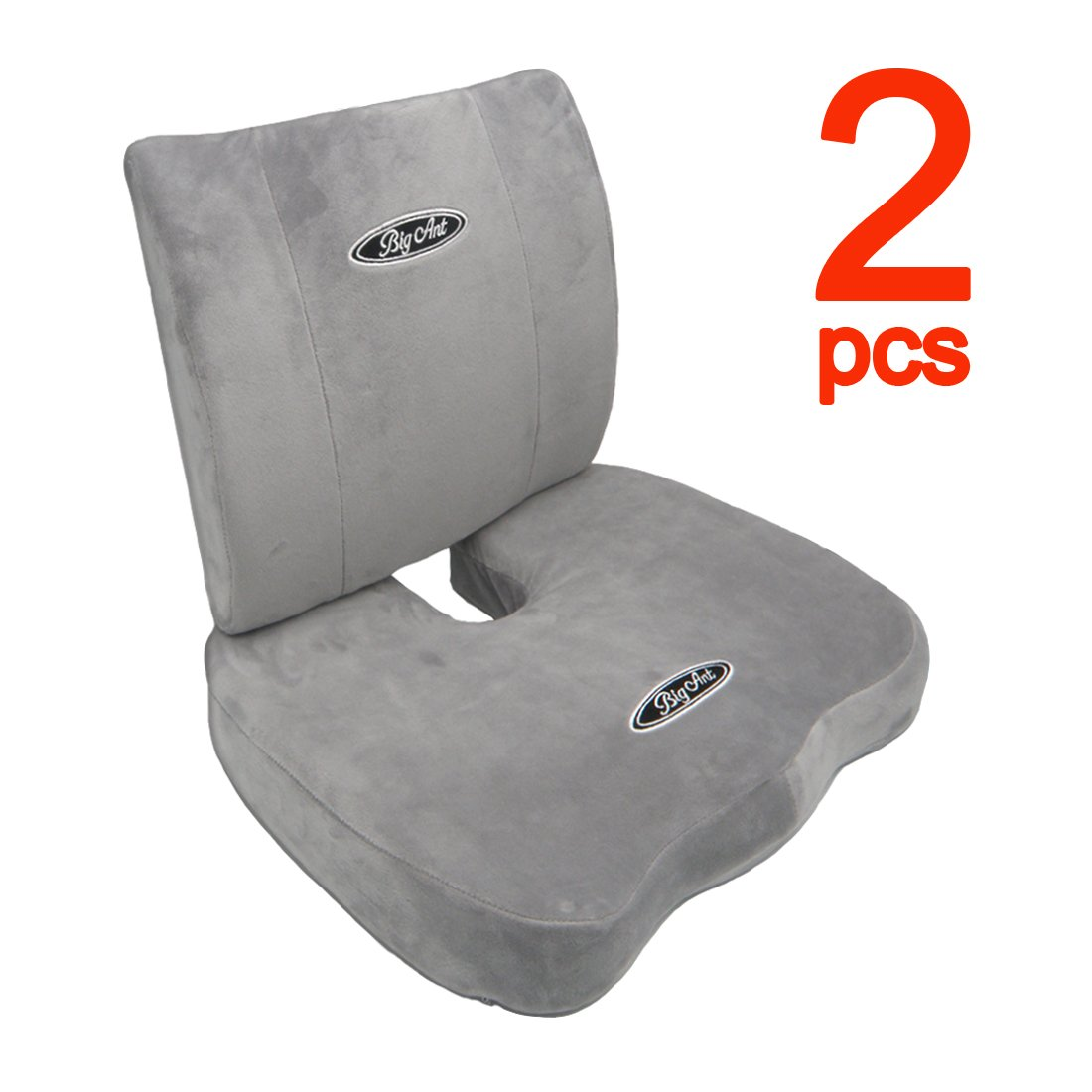 Big Ant Orthopedic Memory Foam Seat Cushion and Lumbar Support Pillow for Office Chair and Car Seat with Washable Cover (Gray)
