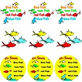 """12 One Fish 2"""" Circle Stickers Two Fish Label Tags Favors Girl Boy Birthday Party Favor Tags Bags Dr Seuss"""