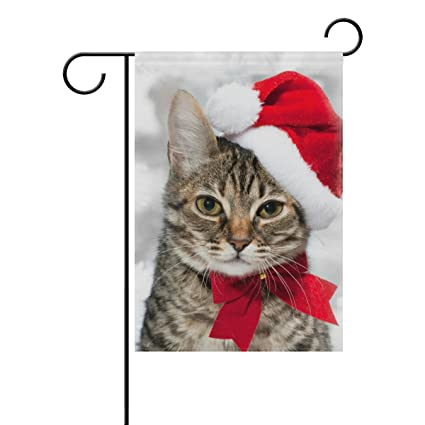 double sided christmas cat red santas hat merry christmas polyester garden flag banner 12 x 18 - Merry Christmas Cat