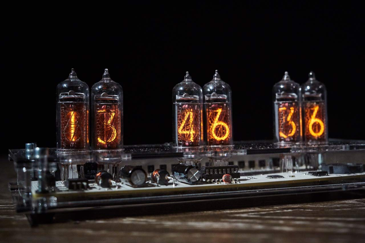 Clock on vacuum tubes indicators IN-14 Tubes Clock with 6 Tubes, handmade, steampunk style