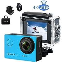 OTHA Camara Deportiva 4k Acción Cámara 1080P WiFi 16MP 170 GradosLentes con Sensor Sony Videocámara Submarina, VisiónNocturna, ControlRemotoInalámbrico, 2BateríasRecargablesIncluidas