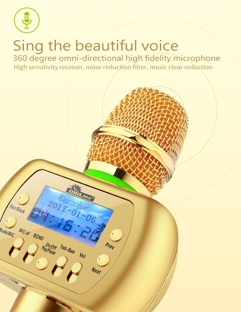 IDOLPRO V2 10W Luxurious Gold Wireless Bluetooth Karaoke Microphone Speaker For Smart Phones With Recorder