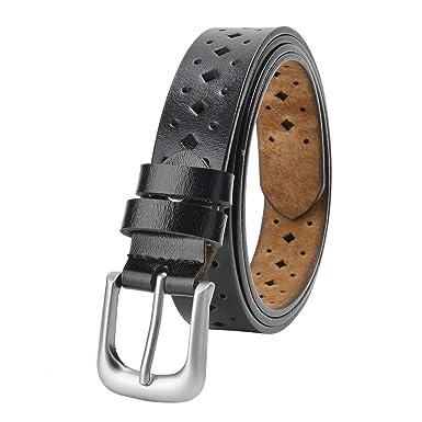 TEAMMAO Cuero Cinturón para Mujer 110CM-160CM Piel Cinturón de Gran Tamaño Hebilla de Aleación Clásica Moda Casual de Negocios 30mm de Ancho ...