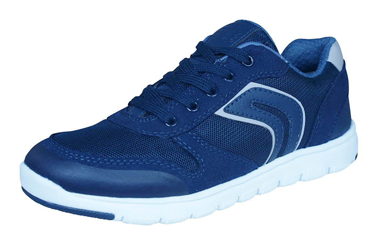 Geox J Xunday H Navy Suede Youth Trainers