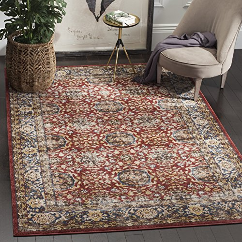 Safavieh Bijar Collection BIJ632R Traditional Oriental Vintage Red and Royal Blue Area Rug 4 x 6