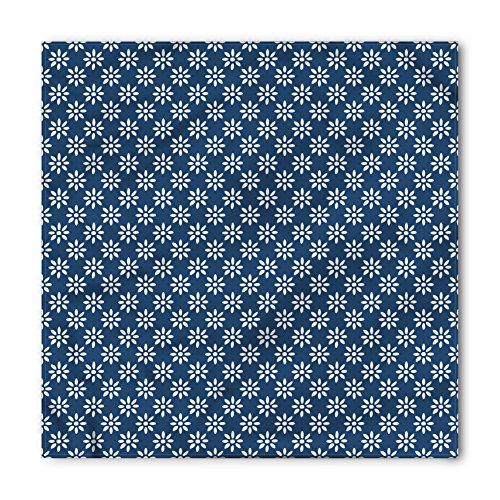 Ambesonne Unisex Bandana, Dutch Classic Delft Flowers, Navy Blue