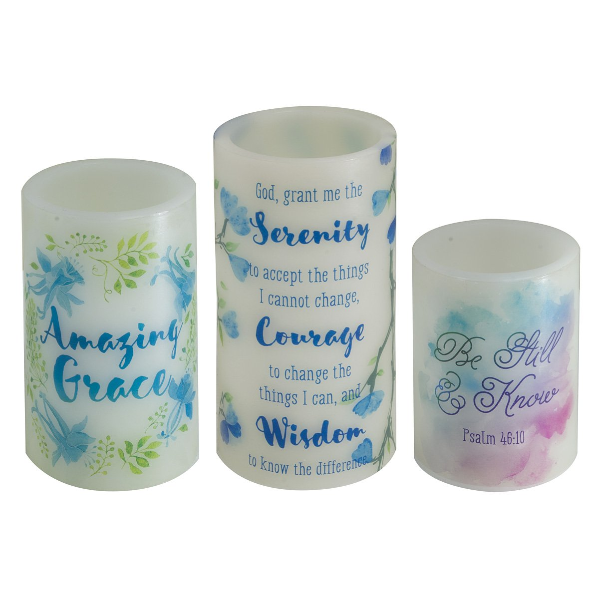 Watercolor Collection Flickering Flameless Wax Pillar Candle Set / 3 by Christian Art Gifts