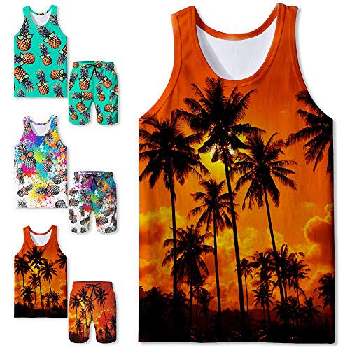 Freshhoodies Mens Stylish Cool Tank Tops Graphic Sleeveless Shirts Casual Summer Tropical Hawaiian Shirts(Coconut-1,Small)