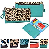 Universal Wristlet Wallet Phone Clutch - LEOPARD|TEAL | Compatible With BLU: Neo X Mini, Neo X LTE,E