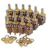Mxfans 15PCS A500k Push Pull Guitar Potentiometer W/18mm Coarse Knurled Shaft Gold