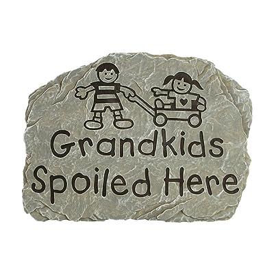 Carson Garden Stepping Stone Grandkids Spoiled Here, Sandstone, : Outdoor Decorative Stones : Garden & Outdoor