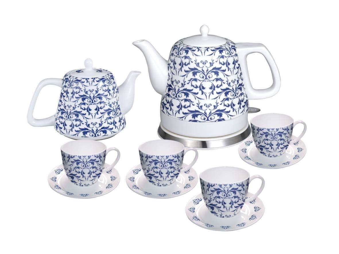 FixtureDisplays Teapot Ceramic English Paisley 10pc Set w/warming plate, Gift, Buffet 12027 12027!