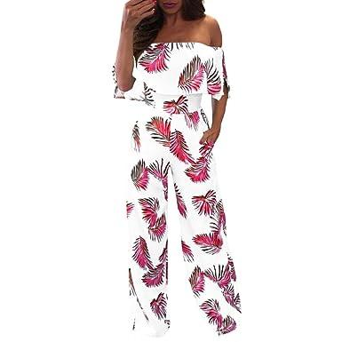 Halijack Jumpsuit for Women Ladies Summer Floral Leaf Printed Sparkly Off  Shoulder Playsuits Loose Casual Wide 52e24517565b