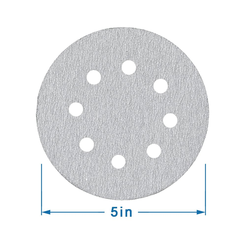 White Hoop and Loop 40 60 80 120 180 240 Grits for Black /& Decker and Bosch Random Orbital Electric Sander 8 Holes 5 Inch Sandpaper Assorted to Polishing YOUSHARES 60 PCS Sanding Discs