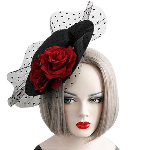 Amazon.com  Women Vintage Rose Flower Mesh Veil Fascinator Pillbox ... 7ec37475e3b